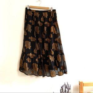 Anthropologie / Floreat Oralie Metallic Midi Skirt